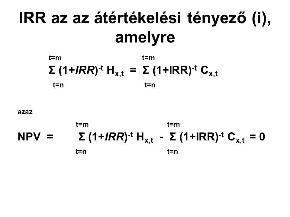 IRR az az átértékelési tényező (i), amelyre t=m t=m Σ (1+IRR) -t H x,t = Σ (1+IRR) -t C x,t t=n t=n azaz t=m t=m NPV = Σ (1+IRR) -t H x,t - Σ (1+IRR)