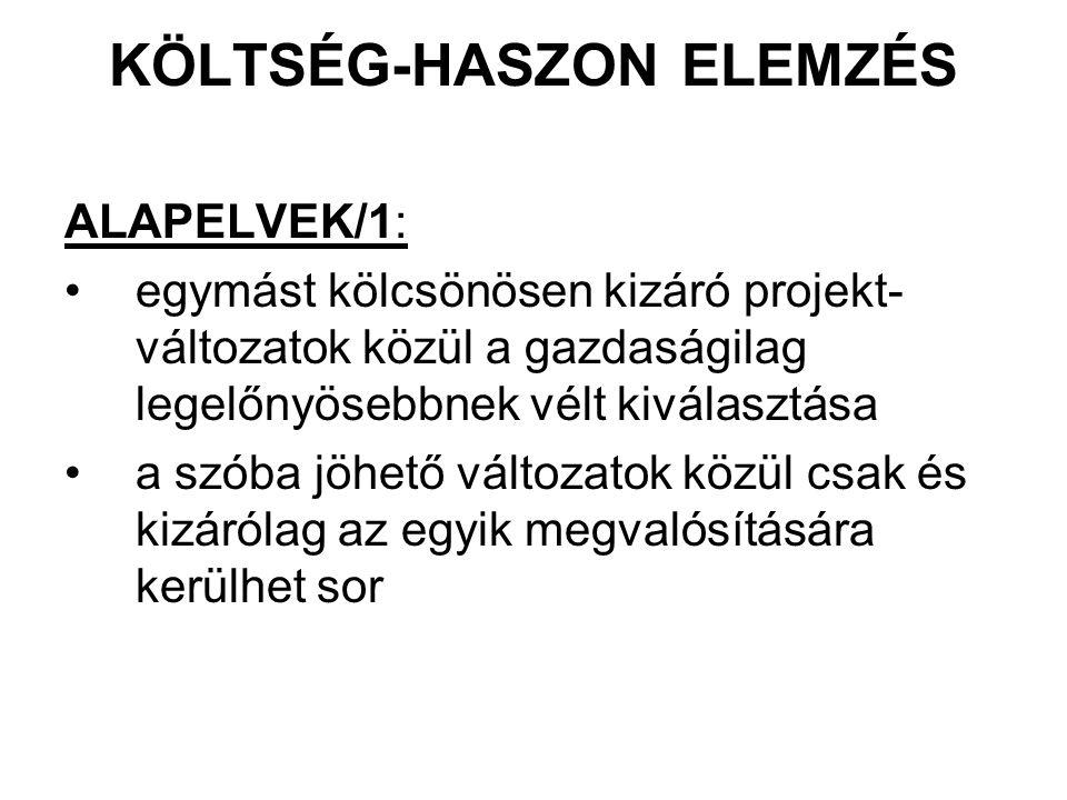 KÖLTSÉG-HASZON ELEMZÉS ALAPELVEK/1: egymást kölcsönösen kizáró projekt- változatok közül a gazdaságilag legelőnyösebbnek vélt kiválasztása a szóba jöh