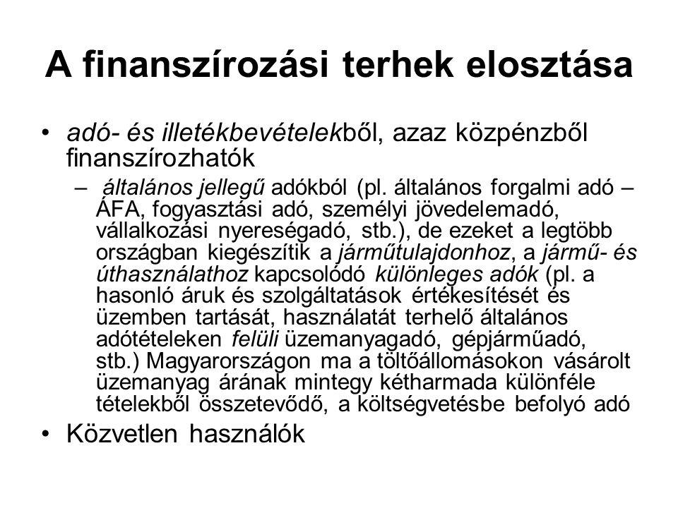 A finanszírozási terhek elosztása adó- és illetékbevételekből, azaz közpénzből finanszírozhatók – általános jellegű adókból (pl. általános forgalmi ad