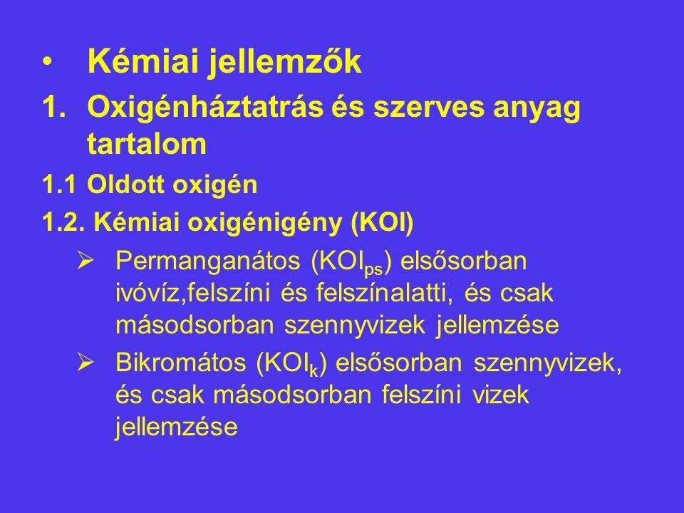 Kémiai jellemzők 1.Oxigénháztatrás és szerves anyag tartalom 1.1Oldott oxigén 1.2. Kémiai oxigénigény (KOI)  Permanganátos (KOI ps ) elsősorban ivóví