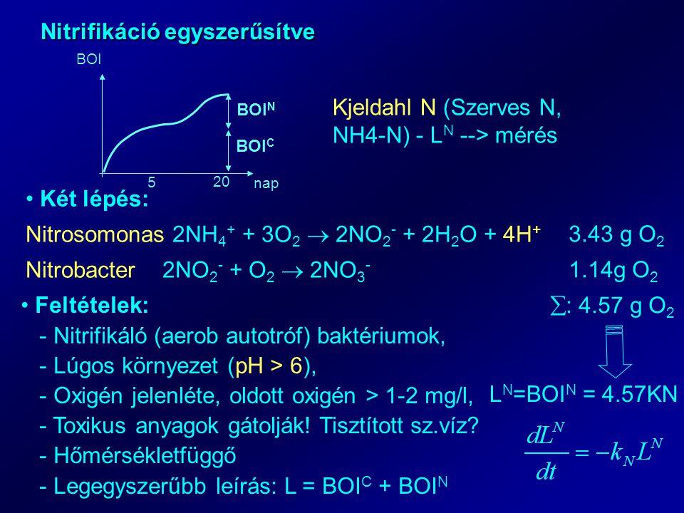 Nitrifikáció egyszerűsítve 5 20 nap BOI BOI C BOI N Kjeldahl N (Szerves N, NH4-N) - L N --> mérés Két lépés: Nitrosomonas 2NH 4 + + 3O 2  2NO 2 - + 2H 2 O + 4H + Nitrobacter2NO 2 - + O 2  2NO 3 - 3.43 g O 2 1.14g O 2  : 4.57 g O 2 L N =BOI N = 4.57KN Feltételek: - Nitrifikáló (aerob autotróf) baktériumok, - Lúgos környezet (pH > 6), - Oxigén jelenléte, oldott oxigén > 1-2 mg/l, - Toxikus anyagok gátolják.