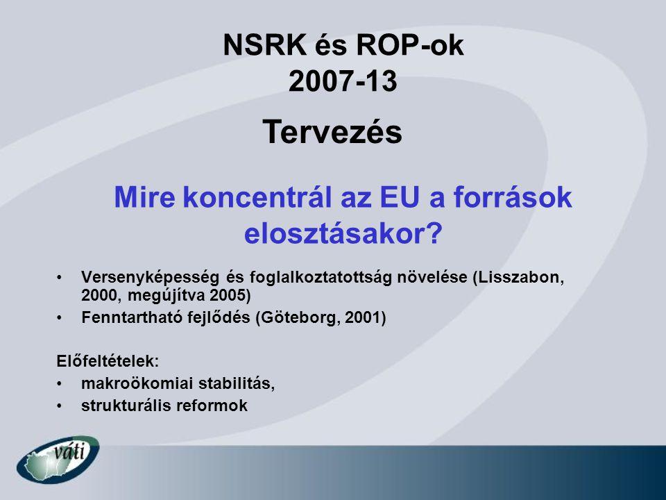 Mire koncentrál az EU a források elosztásakor? Versenyképesség és foglalkoztatottság növelése (Lisszabon, 2000, megújítva 2005) Fenntartható fejlődés