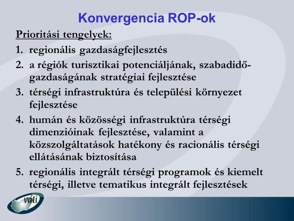 Konvergencia ROP-ok Prioritási tengelyek: 1.regionális gazdaságfejlesztés 2.a régiók turisztikai potenciáljának, szabadidő- gazdaságának stratégiai fe