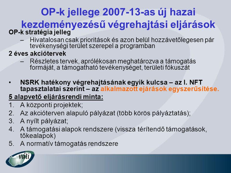 OP-k jellege 2007-13-as új hazai kezdeményezésű végrehajtási eljárások OP-k stratégia jelleg –Hivatalosan csak prioritások és azon belül hozzávetőlege