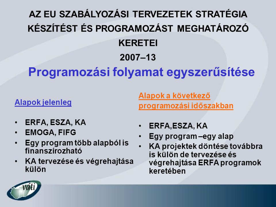 Programozási folyamat egyszerűsítése Alapok jelenleg ERFA, ESZA, KA EMOGA, FIFG Egy program több alapból is finanszírozható KA tervezése és végrehajtá
