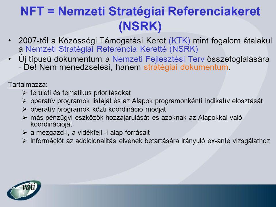 NFT = Nemzeti Stratégiai Referenciakeret (NSRK) 2007-től a Közösségi Támogatási Keret (KTK) mint fogalom átalakul a Nemzeti Stratégiai Referencia Kere