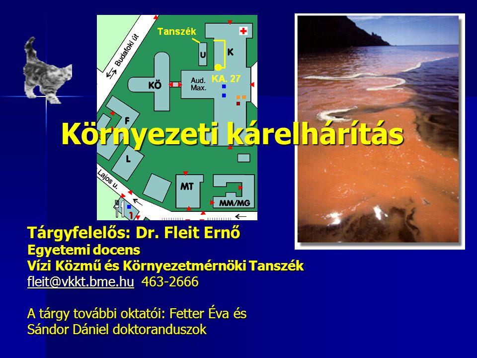 Környezeti kárelhárítás Tárgyfelelős: Dr. Fleit Ernő Egyetemi docens Vízi Közmű és Környezetmérnöki Tanszék fleit@vkkt.bme.hufleit@vkkt.bme.hu 463-266