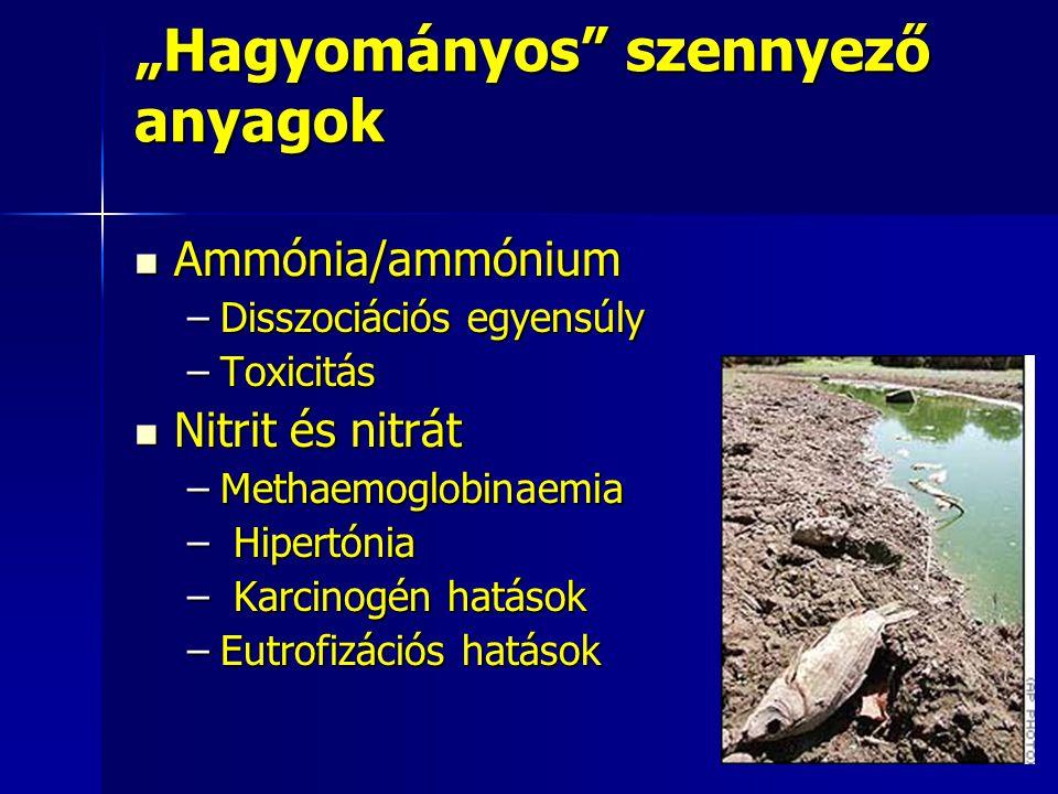"""""""Hagyományos"""" szennyező anyagok Ammónia/ammónium Ammónia/ammónium –Disszociációs egyensúly –Toxicitás Nitrit és nitrát Nitrit és nitrát –Methaemoglobi"""