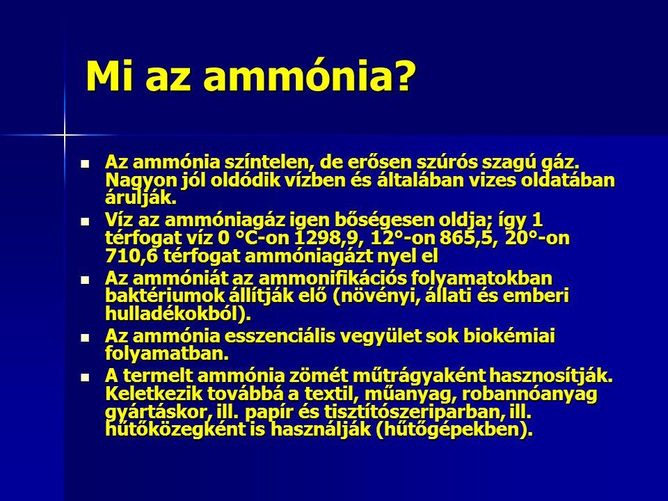 Mi az ammónia? Az ammónia színtelen, de erősen szúrós szagú gáz. Nagyon jól oldódik vízben és általában vizes oldatában árulják. Az ammónia színtelen,