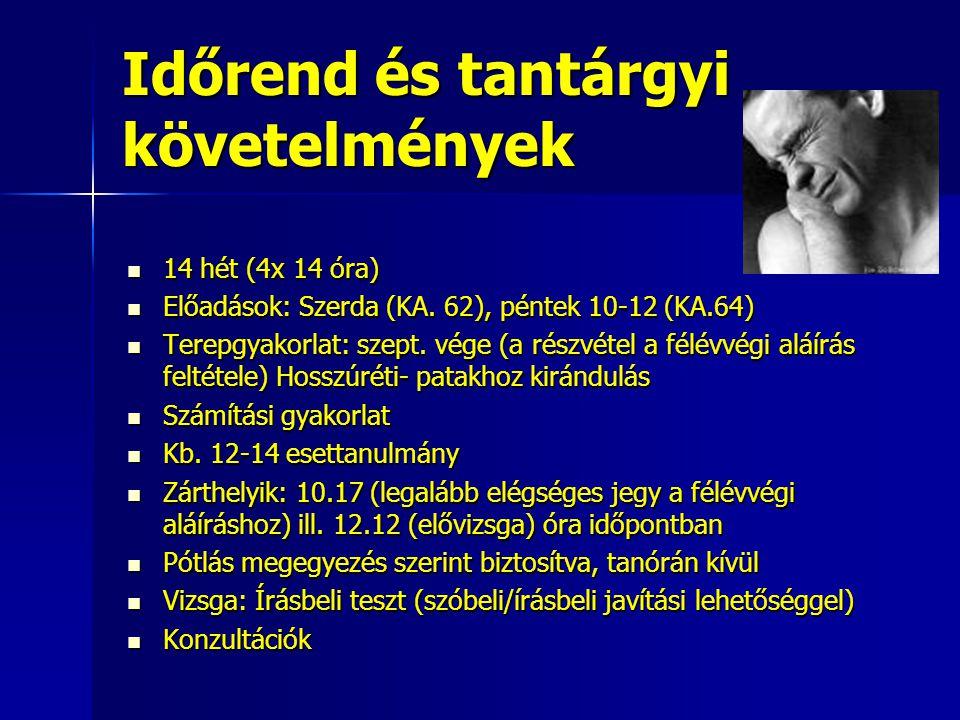 Időrend és tantárgyi követelmények 14 hét (4x 14 óra) 14 hét (4x 14 óra) Előadások: Szerda (KA. 62), péntek 10-12 (KA.64) Előadások: Szerda (KA. 62),