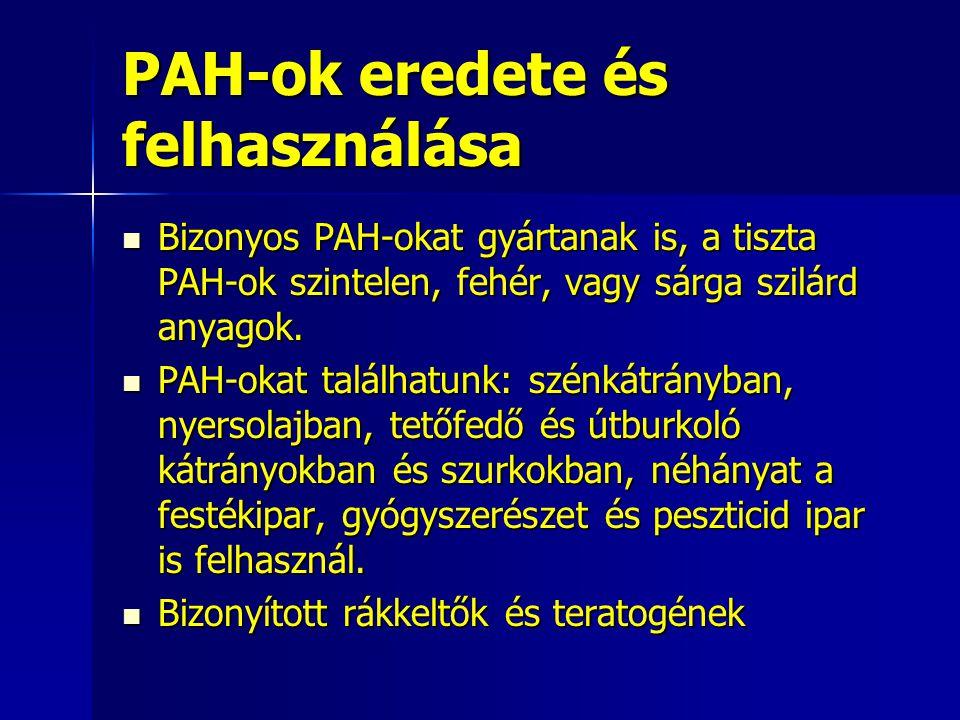 PAH-ok eredete és felhasználása Bizonyos PAH-okat gyártanak is, a tiszta PAH-ok szintelen, fehér, vagy sárga szilárd anyagok. Bizonyos PAH-okat gyárta