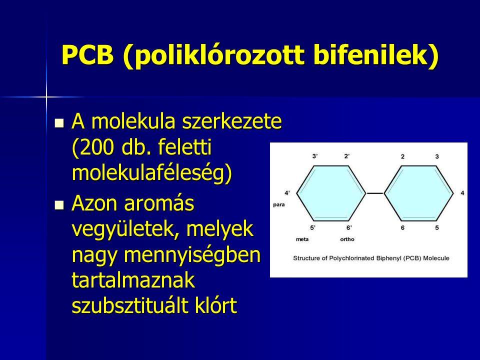 PCB (poliklórozott bifenilek) A molekula szerkezete (200 db. feletti molekulaféleség) A molekula szerkezete (200 db. feletti molekulaféleség) Azon aro