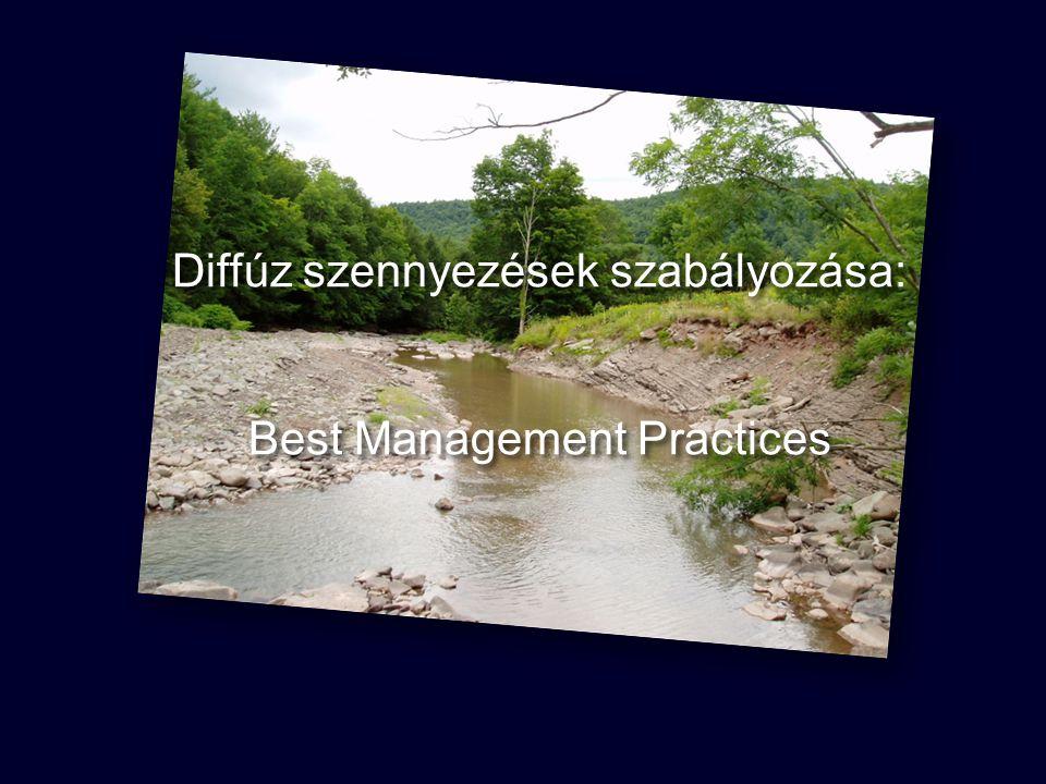 """LEGJOBB GAZDÁLKODÁSI GYAKORLAT (BMP) Diffúz források: legjobb gazdálkodási gyakorlat alkalmazása a vízminőség kontrollálására Biztosítják a vízszennyezések kockázatainak kezelését és gondoskodnak a szabványok teljesítéséről A pontszerű forrásoknál alkalmazott """"end of pipe jellegű kezelések megfelelői a diffúz emissziókra (de forrásszabályozás főleg) BMP: kiválasztott módszerek, eszközök, intézkedések, gyakorlatok a diffúz szennyezések kontrollálása érdekében."""