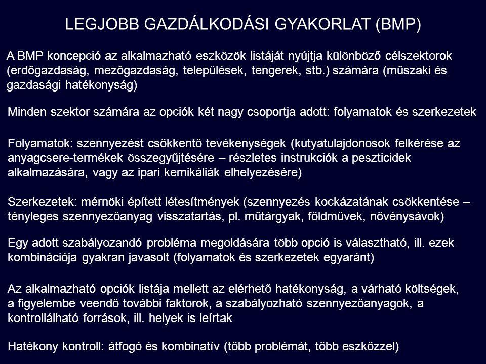 LEGJOBB GAZDÁLKODÁSI GYAKORLAT (BMP) A BMP koncepció az alkalmazható eszközök listáját nyújtja különböző célszektorok (erdőgazdaság, mezőgazdaság, települések, tengerek, stb.) számára (műszaki és gazdasági hatékonyság) Minden szektor számára az opciók két nagy csoportja adott: folyamatok és szerkezetek Egy adott szabályozandó probléma megoldására több opció is választható, ill.