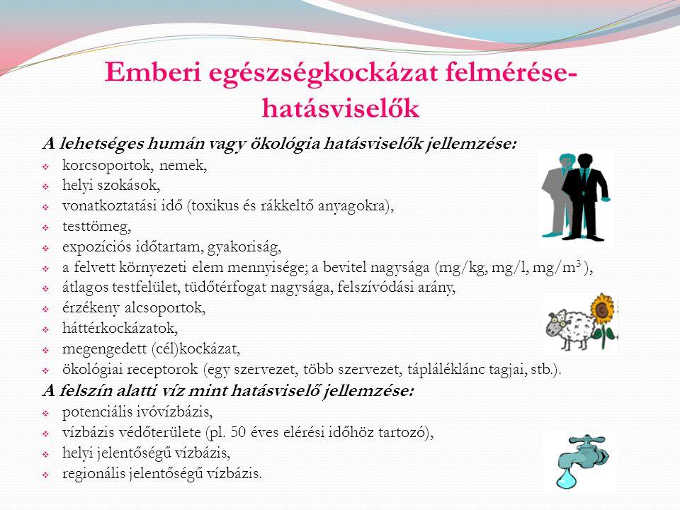 Emberi egészségkockázat felmérése- hatásviselők A lehetséges humán vagy ökológia hatásviselők jellemzése:  korcsoportok, nemek,  helyi szokások,  v