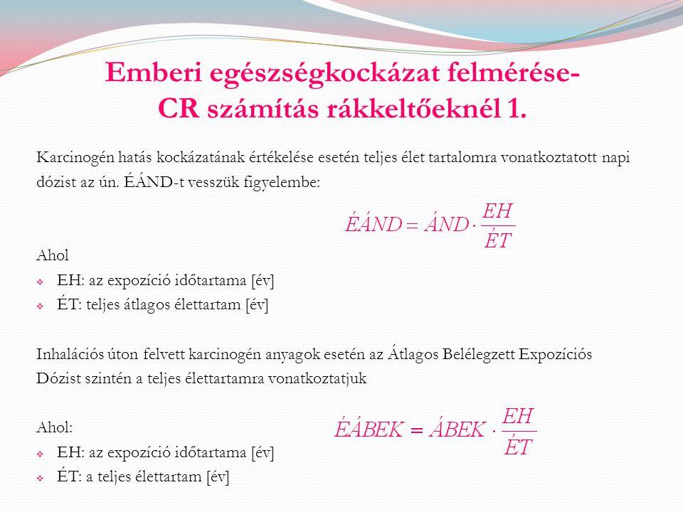 Emberi egészségkockázat felmérése- CR számítás rákkeltőeknél 1. Karcinogén hatás kockázatának értékelése esetén teljes élet tartalomra vonatkoztatott