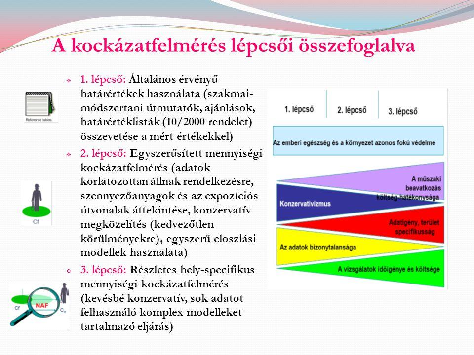 A kockázatfelmérés lépcsői összefoglalva  1. lépcső: Általános érvényű határértékek használata (szakmai- módszertani útmutatók, ajánlások, határérték