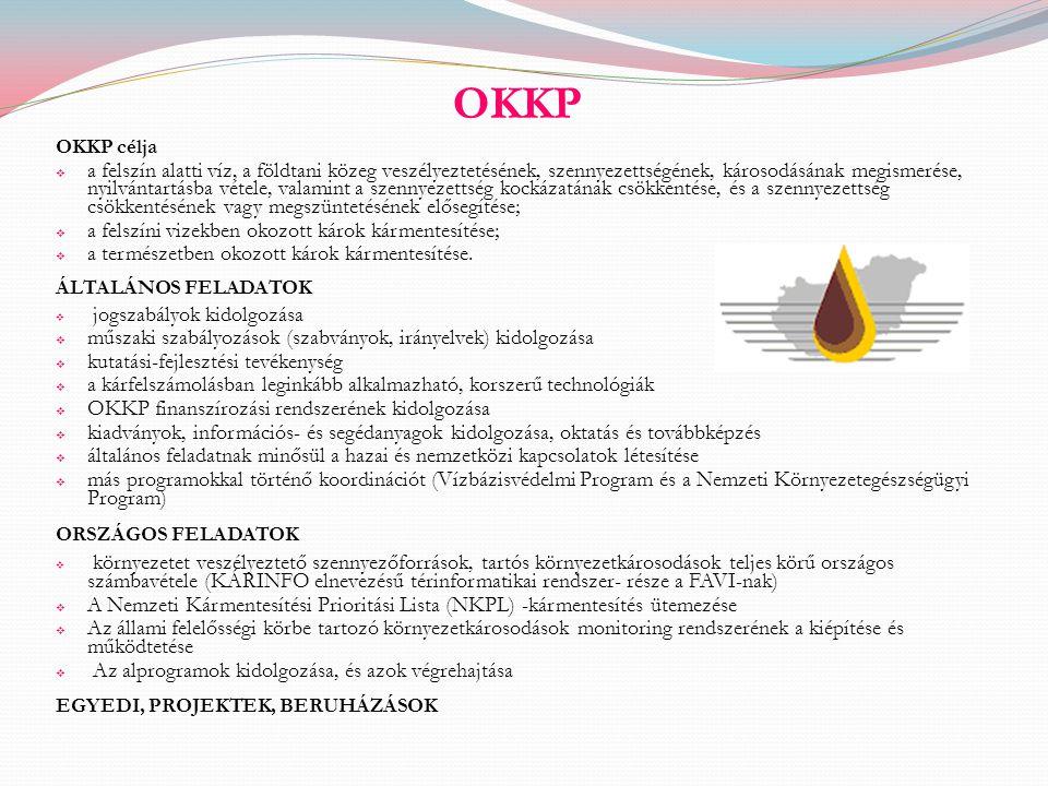 OKKP OKKP célja  a felszín alatti víz, a földtani közeg veszélyeztetésének, szennyezettségének, károsodásának megismerése, nyilvántartásba vétele, va