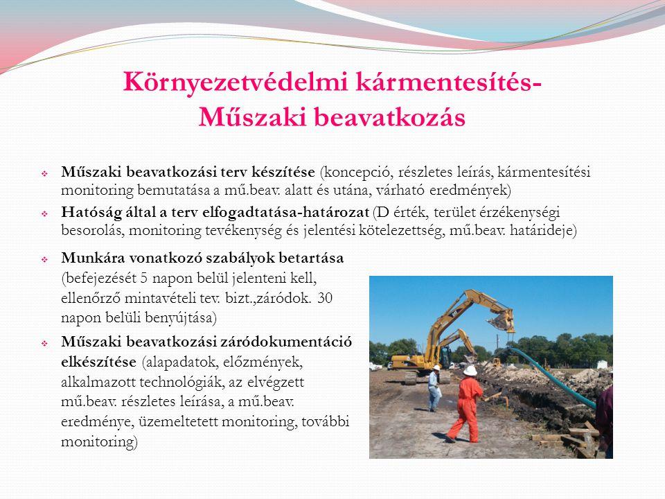 Környezetvédelmi kármentesítés- Műszaki beavatkozás  Műszaki beavatkozási terv készítése (koncepció, részletes leírás, kármentesítési monitoring bemu