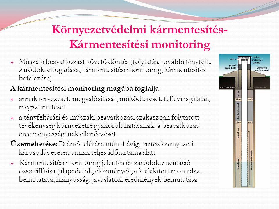 Környezetvédelmi kármentesítés- Kármentesítési monitoring  Műszaki beavatkozást követő döntés (folytatás, további tényfelt., záródok. elfogadása, kár