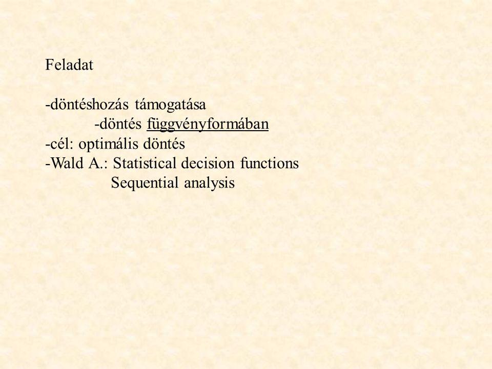 Feladat -döntéshozás támogatása -döntés függvényformában -cél: optimális döntés -Wald A.: Statistical decision functions Sequential analysis
