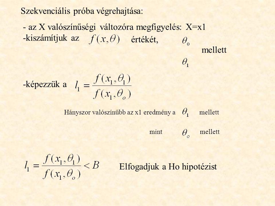 Szekvenciális próba végrehajtása: - az X valószínűségi változóra megfigyelés: X=x1 -kiszámítjuk az értékét, mellett -képezzük a Hányszor valószínűbb a