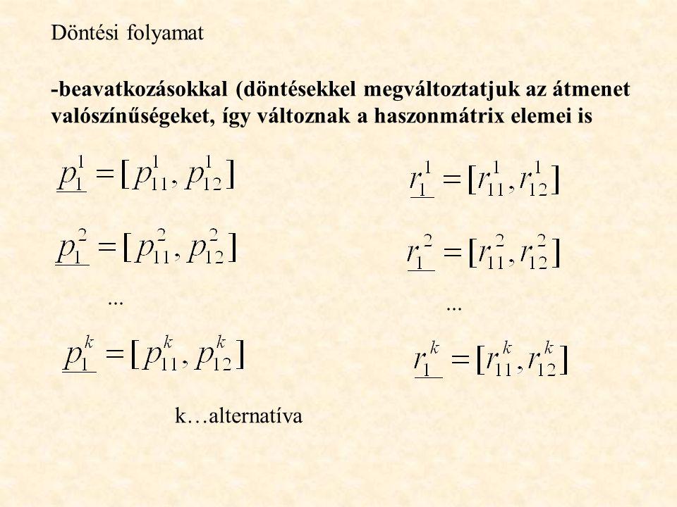 Döntési folyamat -beavatkozásokkal (döntésekkel megváltoztatjuk az átmenet valószínűségeket, így változnak a haszonmátrix elemei is... k…alternatíva