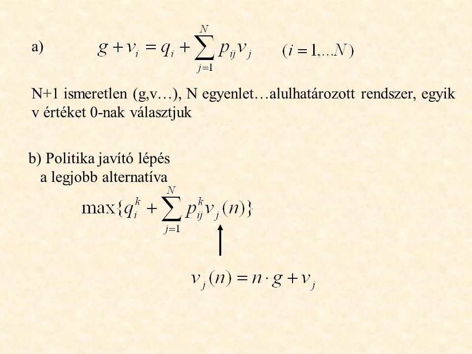 N+1 ismeretlen (g,v…), N egyenlet…alulhatározott rendszer, egyik v értéket 0-nak választjuk b) Politika javító lépés a legjobb alternatíva a)