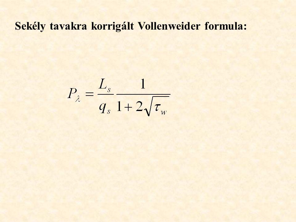 Sekély tavakra korrigált Vollenweider formula: