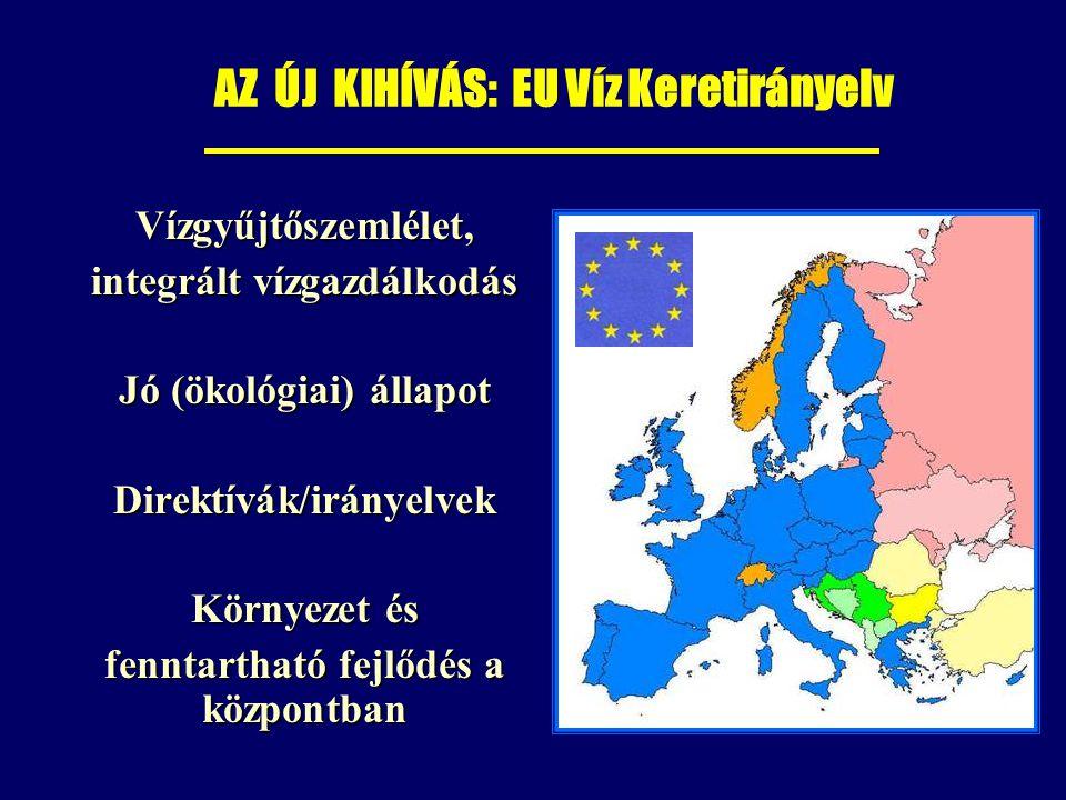 AZ ÚJ KIHÍVÁS: EU Víz Keretirányelv Vízgyűjtőszemlélet, Vízgyűjtőszemlélet, integrált vízgazdálkodás integrált vízgazdálkodás Jó (ökológiai) állapot Jó (ökológiai) állapot Direktívák/irányelvek Direktívák/irányelvek Környezet és Környezet és fenntartható fejlődés a központban fenntartható fejlődés a központban