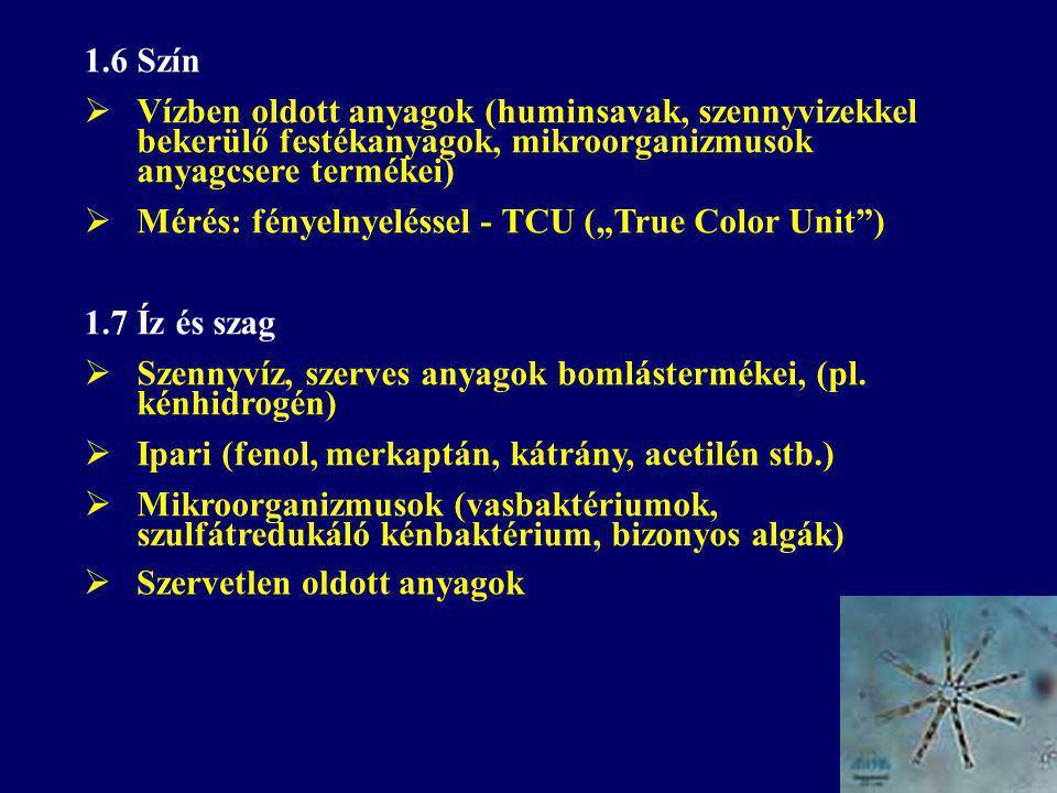 """1.6 Szín  Vízben oldott anyagok (huminsavak, szennyvizekkel bekerülő festékanyagok, mikroorganizmusok anyagcsere termékei)  Mérés: fényelnyeléssel - TCU (""""True Color Unit ) 1.7 Íz és szag  Szennyvíz, szerves anyagok bomlástermékei, (pl."""