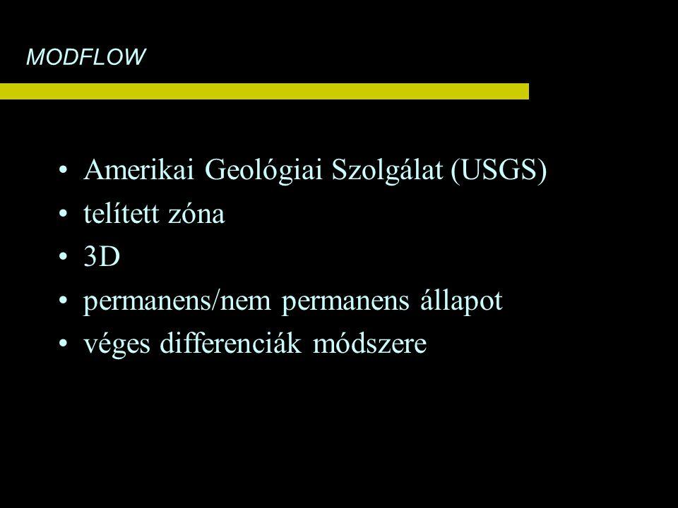 MODFLOW Amerikai Geológiai Szolgálat (USGS) telített zóna 3D permanens/nem permanens állapot véges differenciák módszere