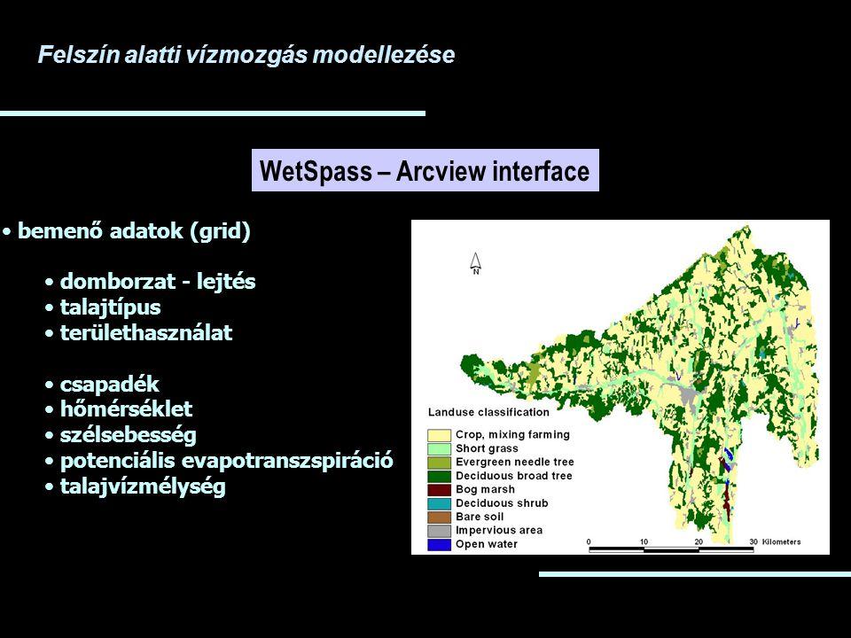 Felszín alatti vízmozgás modellezése WetSpass – Arcview interface bemenő adatok (grid) domborzat - lejtés talajtípus területhasználat csapadék hőmérséklet szélsebesség potenciális evapotranszspiráció talajvízmélység