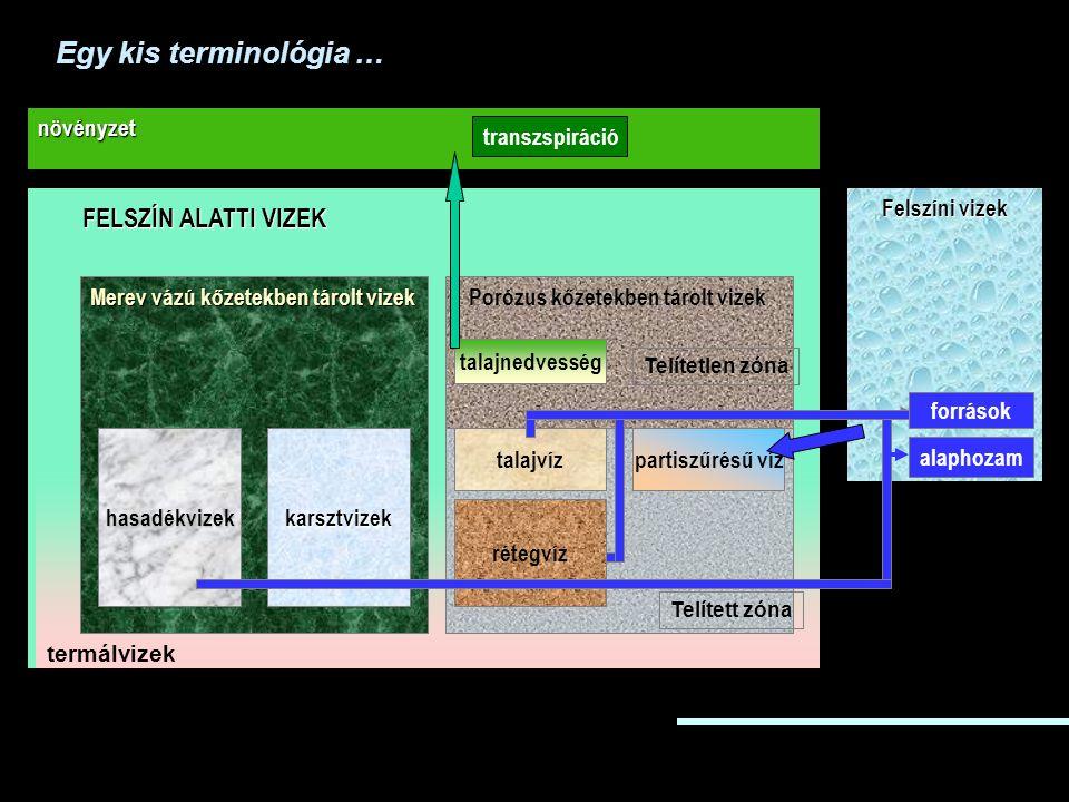 FELSZÍN ALATTI VIZEK Felszíni vizek növényzet Merev vázú kőzetekben tárolt vizek hasadékvizekkarsztvizek Porózus kőzetekben tárolt vizek rétegvíz talajvízpartiszűrésű víz talajnedvesség Telített zóna Telítetlen zóna források alaphozam transzspiráció termálvizek Egy kis terminológia …