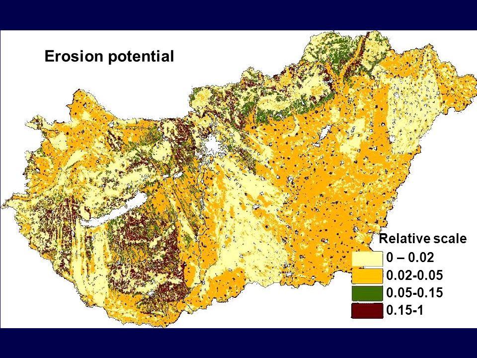 0 – 0.02 0.02-0.050.05-0.150.15-1 Relative scale Erosion potential