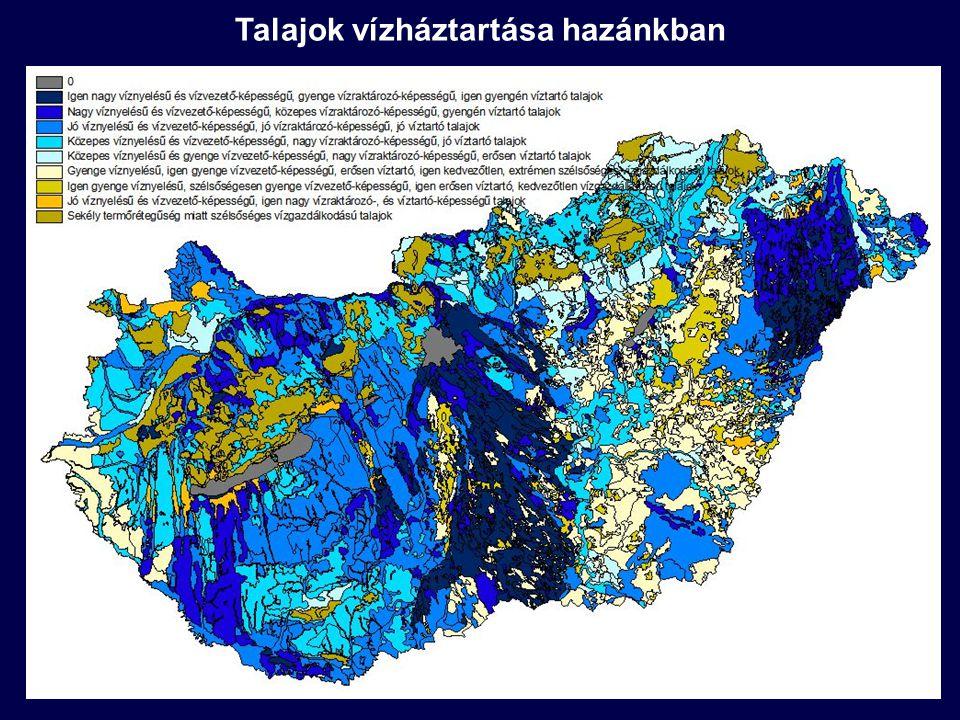 Talaj: szerves anyagok, légköri szennyezők, hulladékok, szennyvizek befogadója hosszú ideje (határtalan befogadóképesség ideája) Mezőgazdaság: nagy mennyiségű műtrágya (N: 20-200 kg/ha/év, P: 10-50 kg/ha/év) és szerves peszticid (1985: ~ 2.5 millió tonna) alkalmazás Hatások: eutrofizáció, nitrátosodás, toxicitás; következmények: ökológiai romlás, vízhasználatok ellehetetlenülése Biológiailag bontható szerves anyagok: jelentős mennyiségben lebontódnak (CO 2, metán, nitrogén gáz, foszfátok) Nagymennyiségű lebontó mikroorganizmus a talajban: természetes visszaforgatás biztosítása Aerob és anaerob körülmények között egyaránt végbemegy a lebomlás Nagy tározási, visszatartási kapacitással rendelkeznek a talajok, azonban ez nem végtelen (kimerülés) Területhasználati váltás: kémiai változások a talajban: szennyezőanyagok elengedése (wetland – szántó, szántó – erdő) Fontos szennyezés-elimináló szerep: a talajvízben már kicsi a visszatartás mértéke (kevesebb mikroorganizmus, szerves anyag, finomszemcsés ásvány, rosszabb kémiai körülmények) Talajok szennyezőanyag-visszatartása