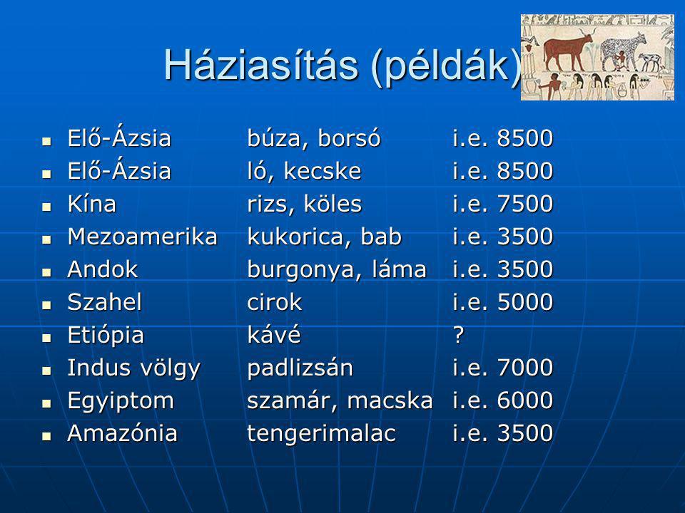 Háziasítás (példák) Elő-Ázsiabúza, borsói.e. 8500 Elő-Ázsiabúza, borsói.e.