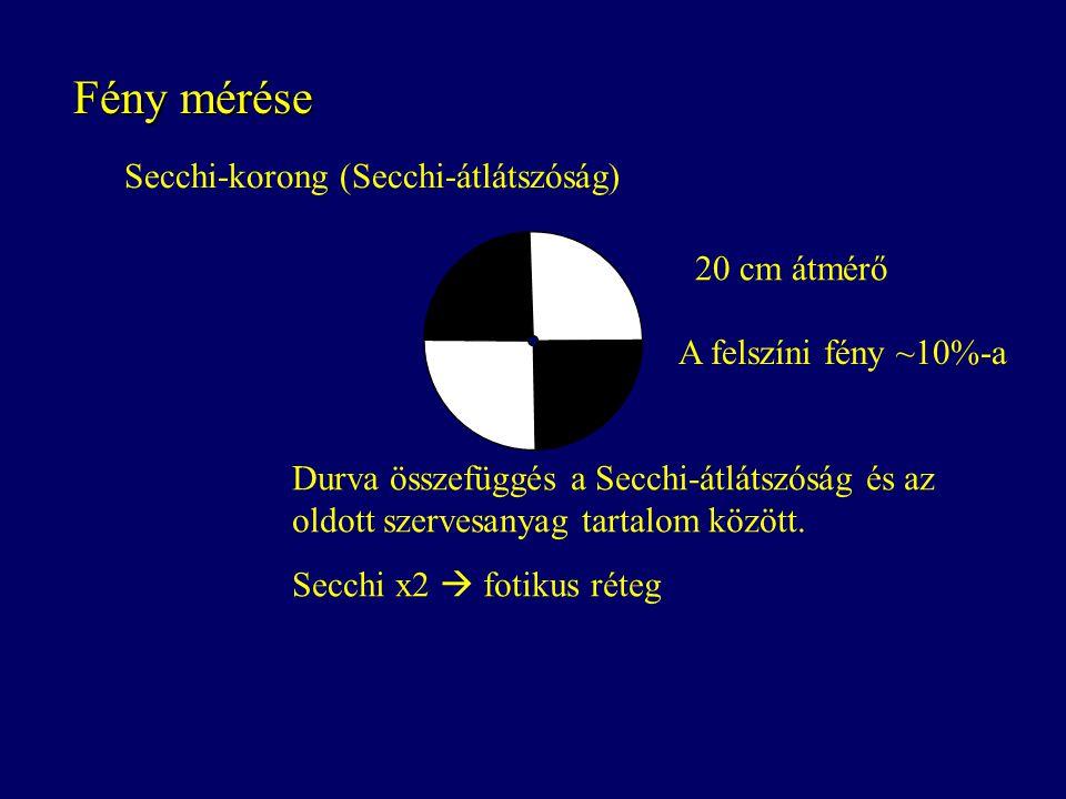Fény mérése Secchi-korong (Secchi-átlátszóság) 20 cm átmérő Durva összefüggés a Secchi-átlátszóság és az oldott szervesanyag tartalom között. Secchi x