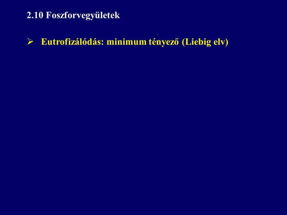 2.10 Foszforvegyületek  Eutrofizálódás: minimum tényező (Liebig elv)