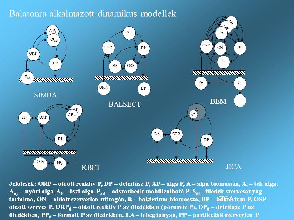 P ad ORP AP t AP n y DP Balatonra alkalmazott dinamikus modellek SIMBAL BEM BALSECT KBFT JICA Jelölések: ORP – oldott reaktív P, DP – detritusz P, AP