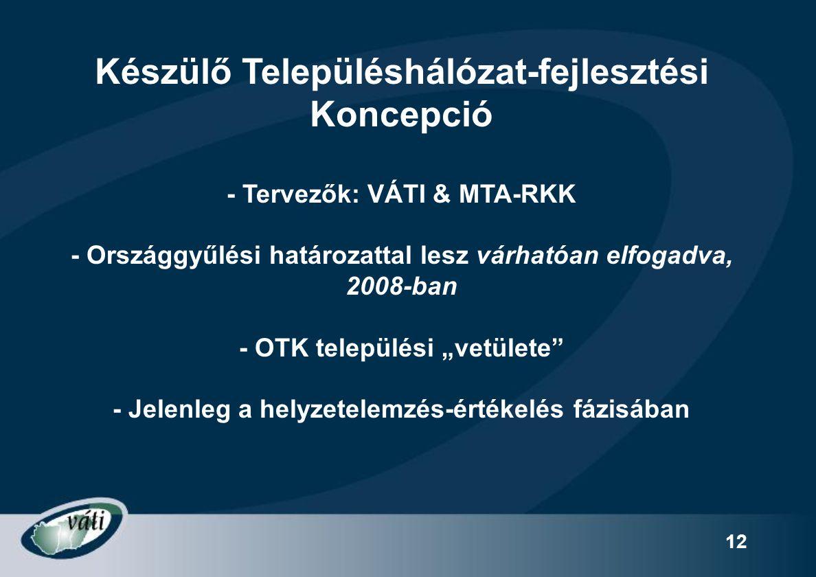 12 Készülő Településhálózat-fejlesztési Koncepció - Tervezők: VÁTI & MTA-RKK - Országgyűlési határozattal lesz várhatóan elfogadva, 2008-ban - OTK tel
