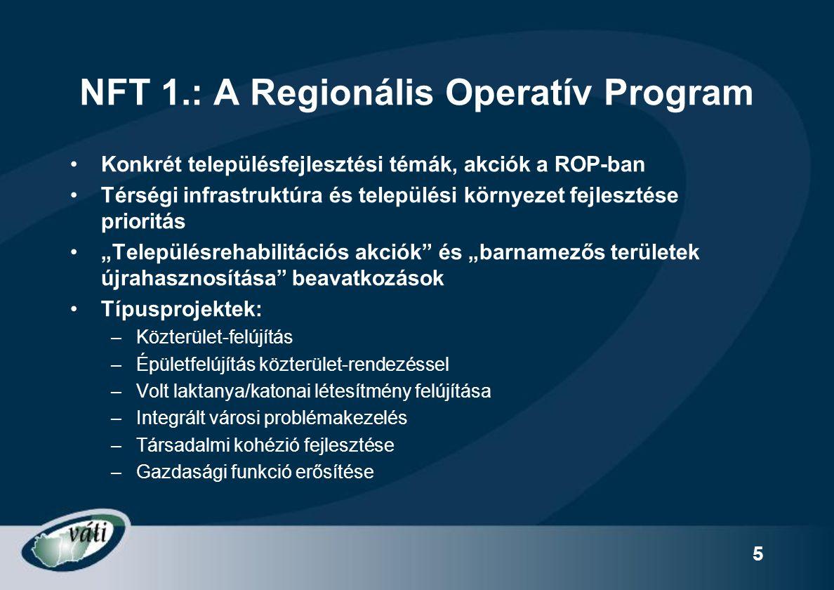 5 NFT 1.: A Regionális Operatív Program Konkrét településfejlesztési témák, akciók a ROP-ban Térségi infrastruktúra és települési környezet fejlesztés