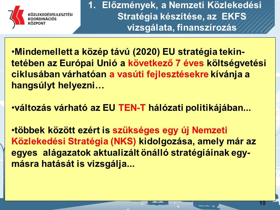 10 Mindemellett a közép távú (2020) EU stratégia tekin- tetében az Európai Unió a következő 7 éves költségvetési ciklusában várhatóan a vasúti fejlesz
