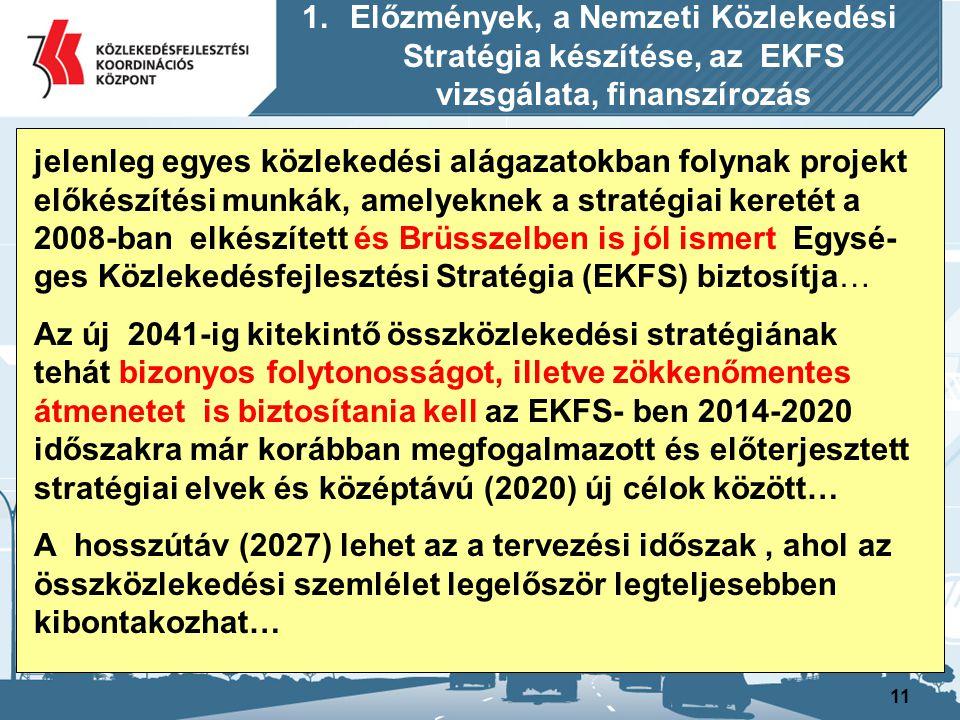 11 1.Előzmények, a Nemzeti Közlekedési Stratégia készítése, az EKFS vizsgálata, finanszírozás jelenleg egyes közlekedési alágazatokban folynak projekt