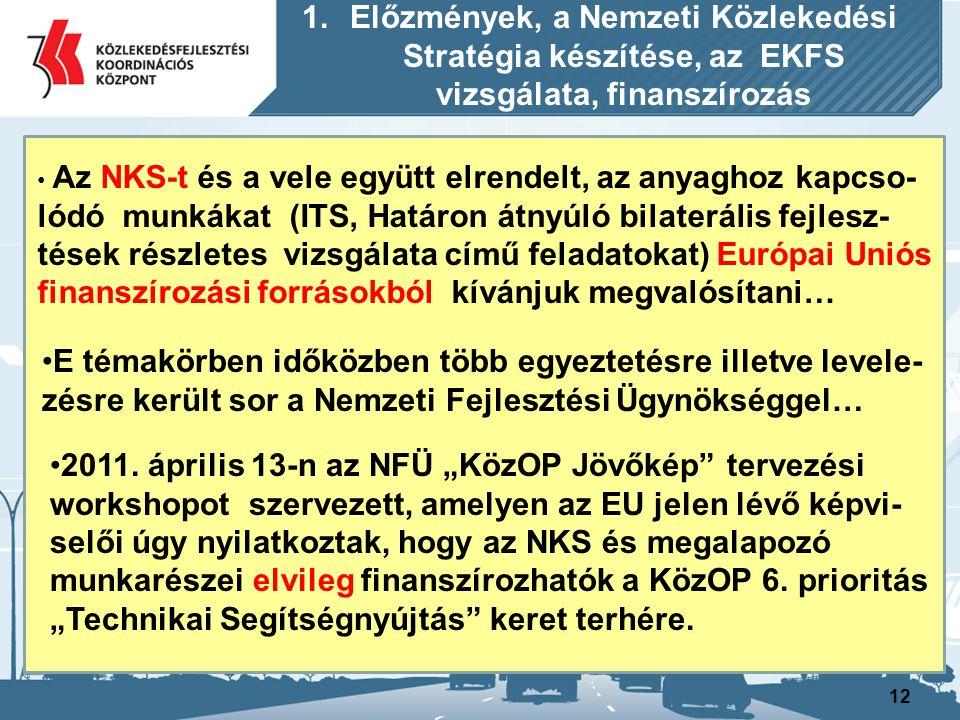 12 Az NKS-t és a vele együtt elrendelt, az anyaghoz kapcso- lódó munkákat (ITS, Határon átnyúló bilaterális fejlesz- tések részletes vizsgálata című f