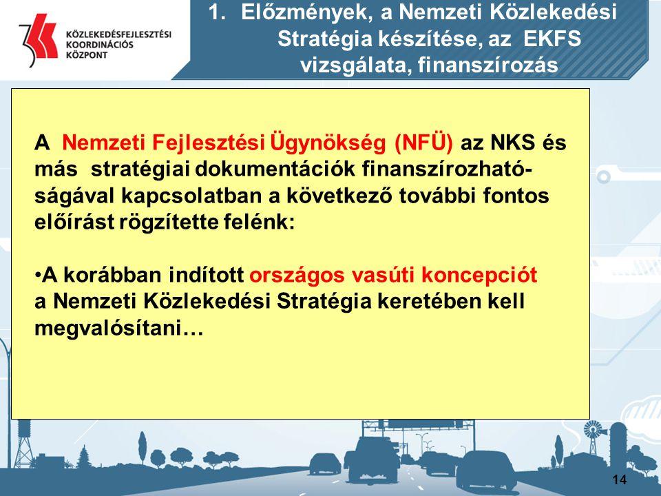 14 A Nemzeti Fejlesztési Ügynökség (NFÜ) az NKS és más stratégiai dokumentációk finanszírozható- ságával kapcsolatban a következő további fontos előír