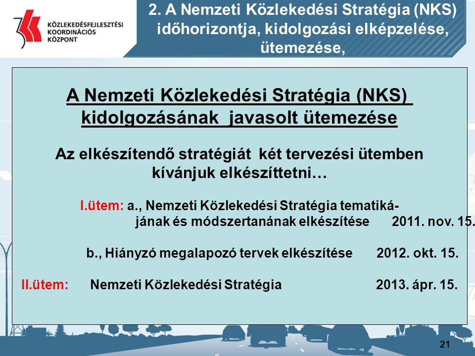 21 A Nemzeti Közlekedési Stratégia (NKS) kidolgozásának javasolt ütemezése Az elkészítendő stratégiát két tervezési ütemben kívánjuk elkészíttetni… I.