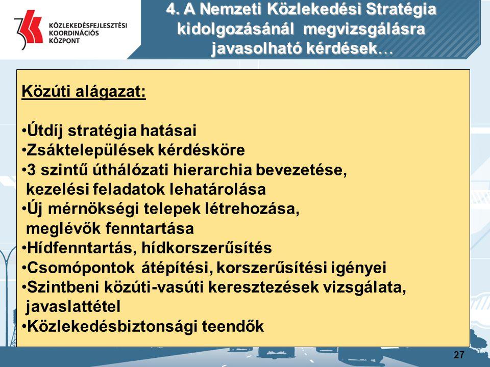 27 Közúti alágazat: Útdíj stratégia hatásai Zsáktelepülések kérdésköre 3 szintű úthálózati hierarchia bevezetése, kezelési feladatok lehatárolása Új m