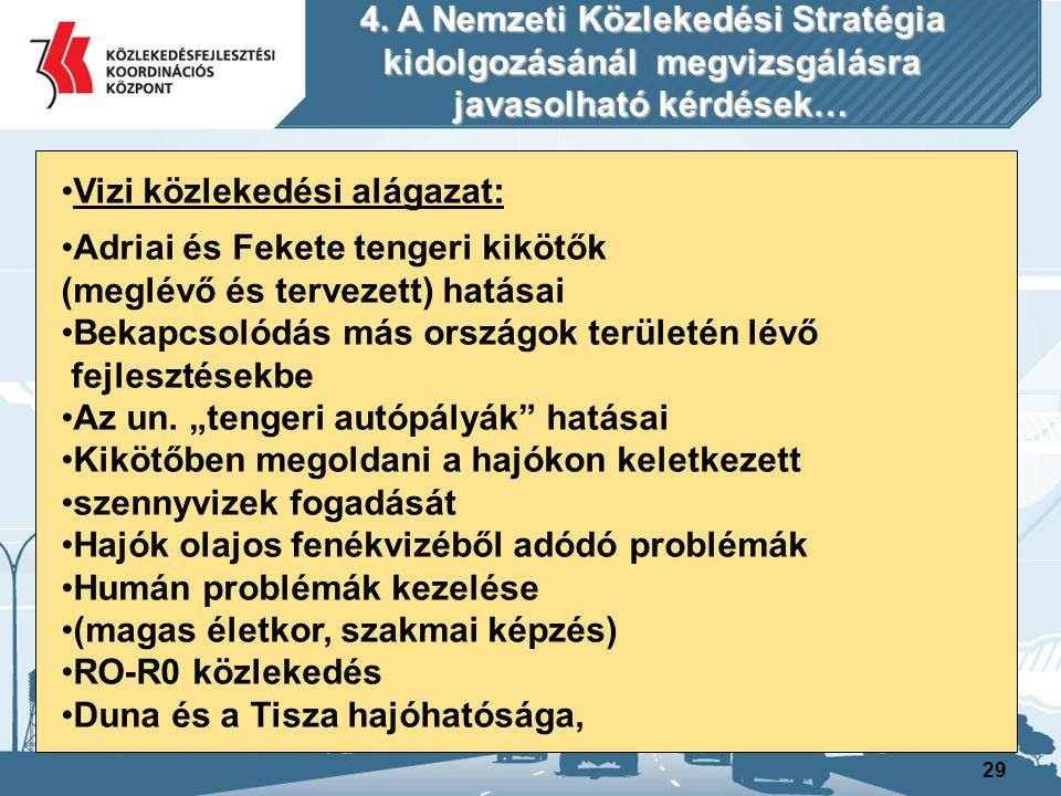 29 Vizi közlekedési alágazat: Adriai és Fekete tengeri kikötők (meglévő és tervezett) hatásai Bekapcsolódás más országok területén lévő fejlesztésekbe