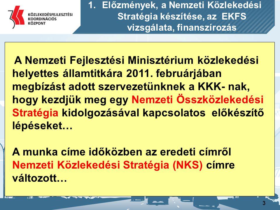 3 1.Előzmények, a Nemzeti Közlekedési Stratégia készítése, az EKFS vizsgálata, finanszírozás A Nemzeti Fejlesztési Minisztérium közlekedési helyettes